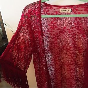 RED LACE SEXY FRINGE KIMONO! FLORAL LACE DETAIL